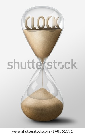 Hourglass with Clock word made of sand inside the clock. Concept of time passing