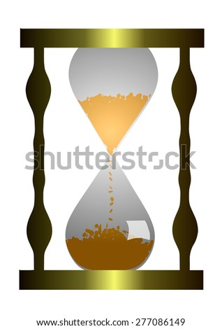 Hourglass with coins.