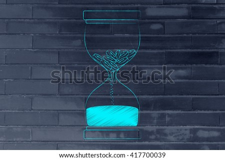 hourglass with coins melting into sand, concept of cash drain