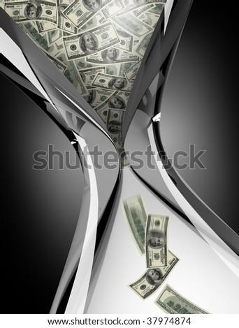 hourglass with dollar bills - stock photo