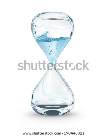 hourglass with dripping water close-up, time concept - stock photo