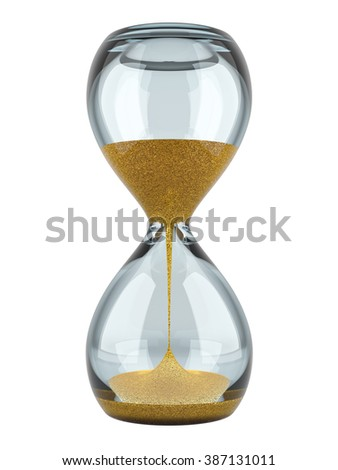 Hourglass with gold sand. High quality 3d image