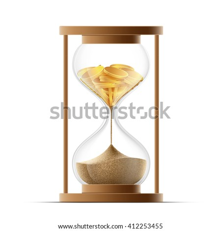 Hourglass with sand and gold coins. Bankruptcy and devaluation. Stock illustration.