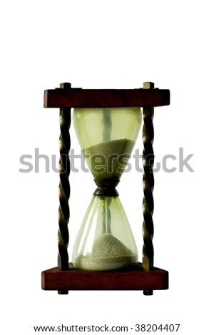 Hourglass with sand on white background - stock photo