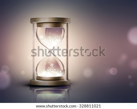 hourglass with shining light on dark background with soft bokeh effect - stock photo