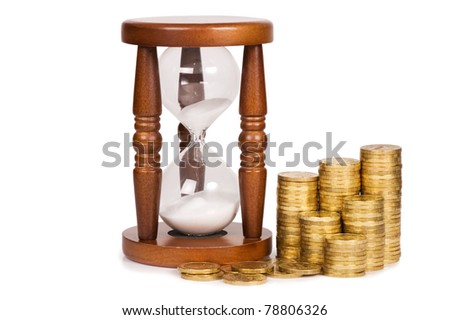Hourglasses and coin isolated on white - stock photo