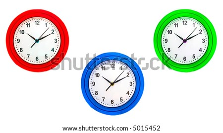 Hours. Isolation on white. - stock photo