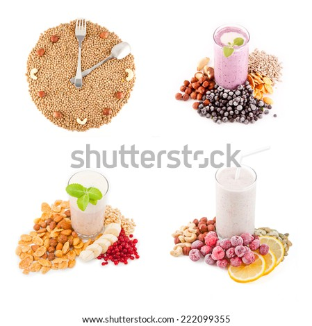 Hours of beans and nuts. Set of cocktails soft  - stock photo