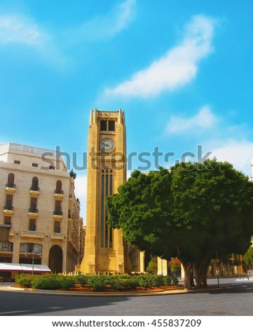 Hours on a main square of Beirut, Lebanon