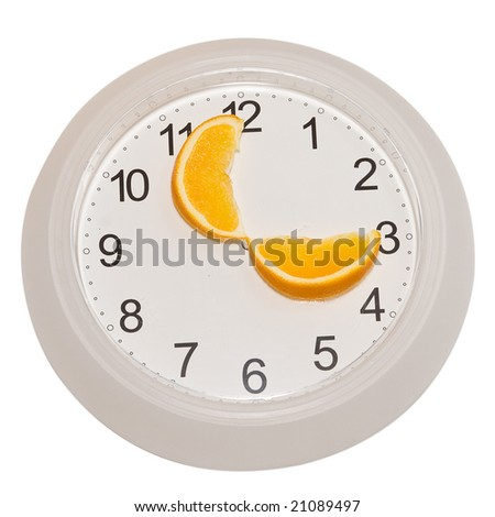 Hours with arrows which are made of an orange