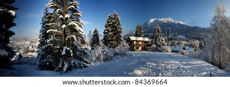 House, a charming house in the alps - stock photo