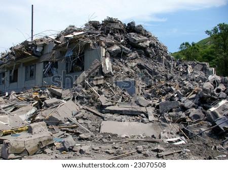 House after earthquake. Island Sakhalin, city Nevelisk. - stock photo