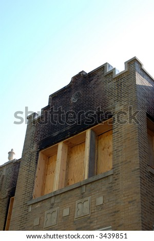 house after fire - stock photo