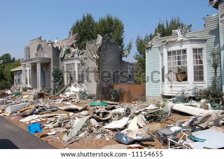House after hurricane - stock photo