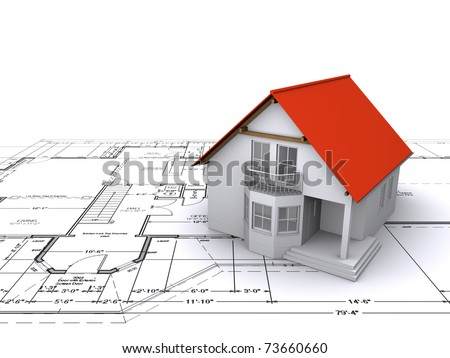 house against background of engineering drawings - stock photo
