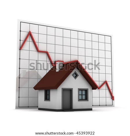 House against chart of real estate market, isolated on white background