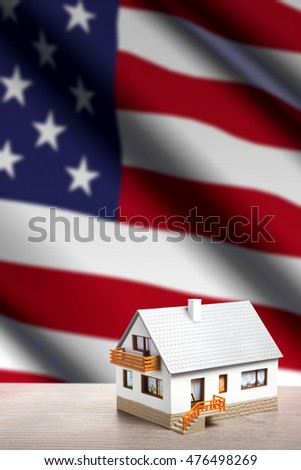 house against USA flag background