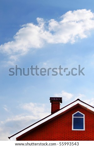 House and blue sky with cloud - stock photo