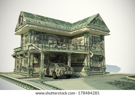 House and car made from United States one hundred-dollar bill - stock photo