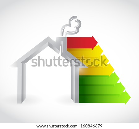 house and color graph. green, yellow and red. illustration design - stock photo