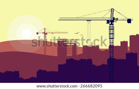 House and construction cranes - stock photo