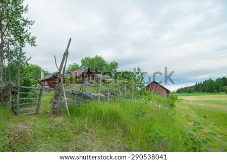 House and environment in Sweden - stock photo