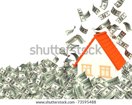 House and falling dollar banknotes. Isolated over white