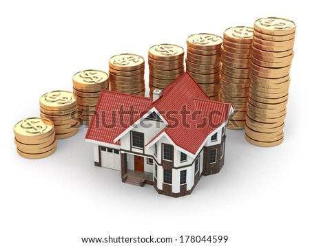 House and graph from coins. Real estate increasing.  3d - stock photo