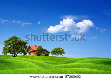 House and green landscape - stock photo