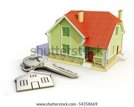 House and house keys on white background - stock photo