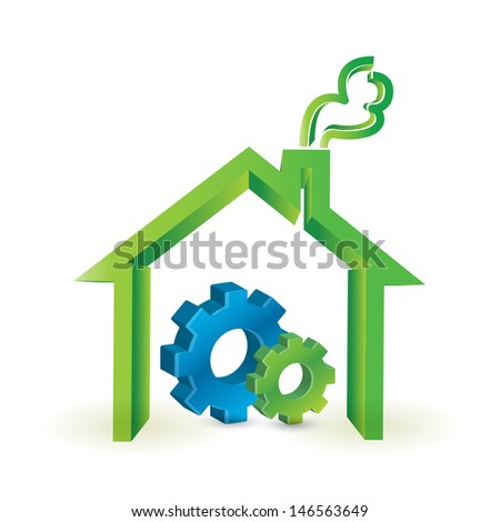 house and industrial gears. illustration design over a white background - stock photo