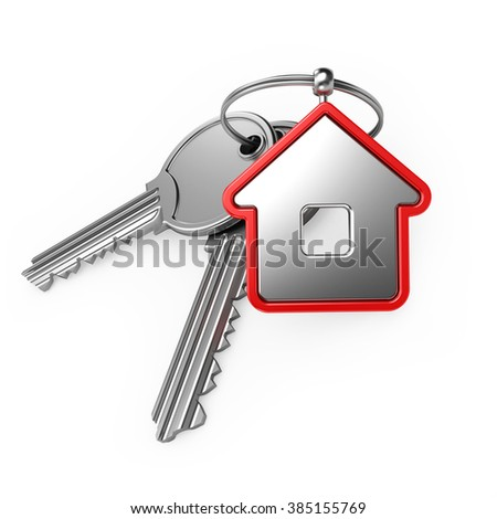 house and key, on a white background, 3d render - stock photo