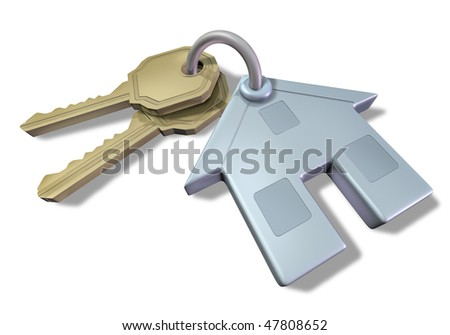 house and keys isolated on white