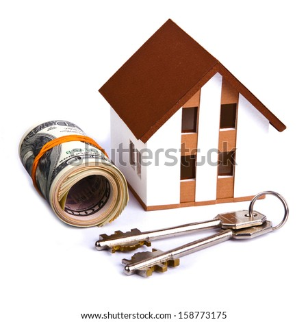 house and money isolated on white - stock photo