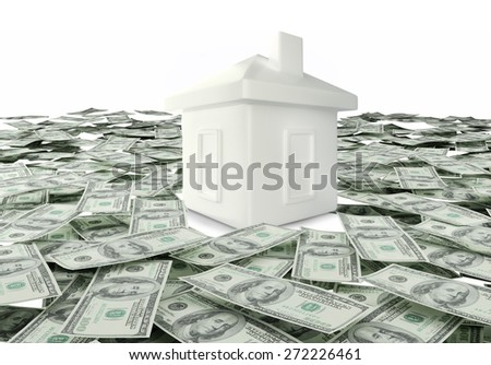 house and money. Mortgage Concept - stock photo