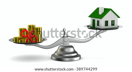 House and money on scales. Isolated 3D image - stock photo