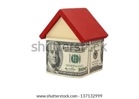 house and money on white