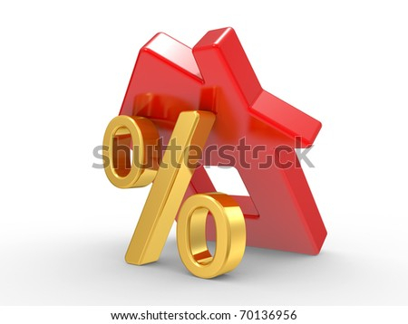 House and percent symbol. isolated 3d image. - stock photo