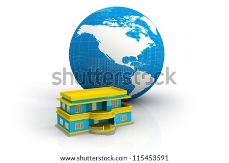 house and planet - stock photo