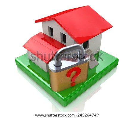 House and question lock  - stock photo