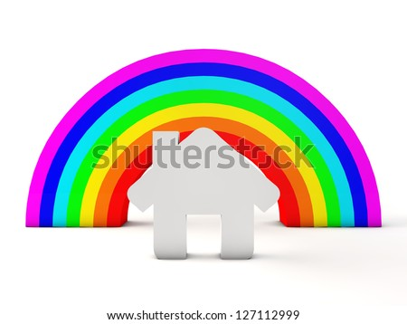 House and rainbow - stock photo