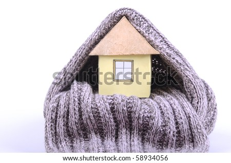 House and  scarf on the white background - stock photo