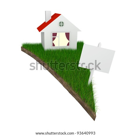 House and slae sign on pizza shaped piece of land with grass isolated on white (with work path) - stock photo