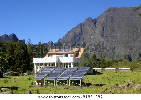 House and solar panel in Mafate, Reunion island - stock photo