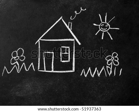 house and sun, flowers, drawn on the blackboard - stock photo