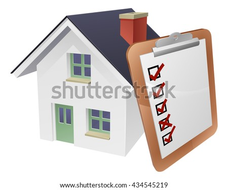 House and survey clipboard concept of a house with a giant clipboard or survey leaning on it. - stock photo
