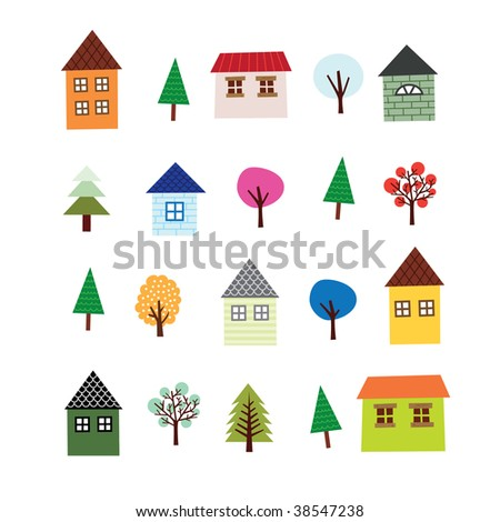 House and Tree Set - stock photo