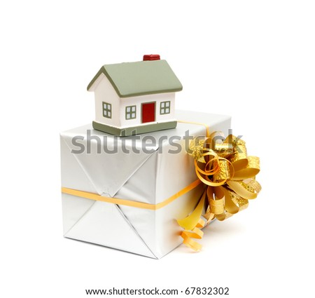 House as a gift for you isolated on white - stock photo