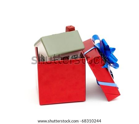 House as a gift for you. isolated on white background - stock photo