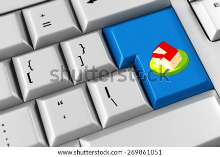 House as symbol for real estate on a computer keyboard (3D Rendering) - stock photo